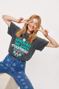 Happy Hippie, T Shirts With Sayings, More Cute, Nasty Gal, Flare Jeans, Photography Poses, Nice Dresses, Female, Tees