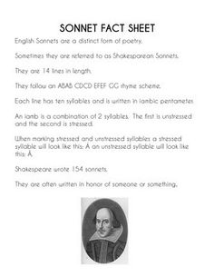 ANALYZING SHAKESPEARE'S SONNETS AND SONNET WRITING ACTIVITY - TeachersPayTeachers.com