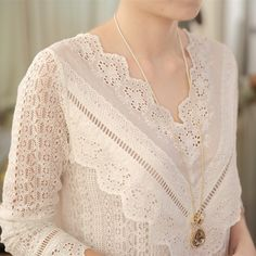 2019 hot sale new arrival Spring and autumn Korean fashion women blouse V neck long sleeve slim lace female shirt 30 Sleeves Designs For Dresses, Dress Neck Designs, Kurti Neck Designs, Kurta Designs Women, Kurti Designs Party Wear, Blouse Designs, Pakistani Fashion Casual, Stylish Dresses For Girls, Embroidery Fashion