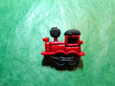 1 - RED TRAIN ENGINE PLASTIC SHANK CRAFT EMBELLISHMENT BUTTON -  Lot #E307