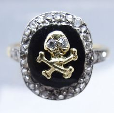 Victorian Skeleton Ring Skull Crossbones Gold Diamond  Memento Mori (#5775)