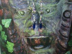♥ Gothic Magickal Blue Moon ♥ Twinkle Lights Earrings ♥ Handmade ♥