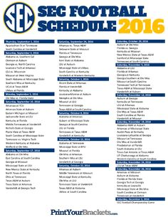 SEC - Football Conference Schedule 2016