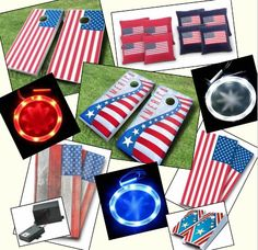 Patriotic Cornhole:   Show some USA pride with these great cornhole products in All-American Red, White and Blue!