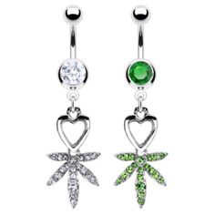 Heart & Pot Leaf Paved CZ Gem Belly Ring Pierced Navel Naval 14g Green, Clear   | eBay