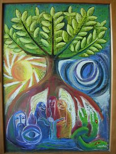 Example of day night duality picture for inspiration (w/o Norse parts) - Waldorf ~ grade ~ Norse Mythology ~ Yggdrasil ~ chalkboard drawing Blackboard Drawing, Chalkboard Drawings, Chalk Drawings, Chalkboard Art, Ymir, Arte Elemental, Form Drawing, Asatru, Norse Mythology