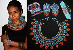 Beautiful Set of 4 - Huichol Jewelry, Native American Jewelry Set, Aztec Jewelry, Seed Bead Jewelry, Statement Necklace, Bib Necklace
