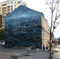 A turbulent Black Sea fills a three-story wall in Kyiv, Ukraine. The artist Jake Aikman painted his first street art mural, the dark and stormy 'Black Sea'. Graffiti Murals, Street Art Graffiti, Mural Art, Most Haunted, Haunted Places, Colossal Art, Abandoned Houses, Abandoned Castles, Abandoned Mansions