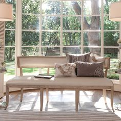 Global Views Natural Wood Frame Bench with Beige Leather Upholstery