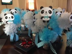 Panda baby shower centerpieces!