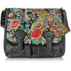 Roberto Cavalli Handbags Floral Embroidered Black Leather Shoulder Bag (106.215 RUB) ❤ liked on Polyvore featuring bags, handbags, shoulder bags, black, leather handbags, handbags shoulder bags, man shoulder bag, leather man bags and man messenger bag