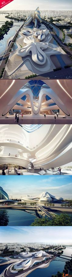 Futuristic architecture will be finished in 2015, in China   Changsha Meixihu International Culture And Art Center Design By Zaha Hadid