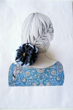 Barrette femme, Pince crocodile métal bronze, tissu soie et coton bleu et marron : Accessoires coiffure par mon-armoire-jolie