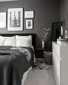 Room Ideas Bedroom, Bedroom Colors, Home Decor Bedroom, Grey Bedroom Furniture, White Bedroom Decor, Ikea Bedroom, Bedroom Sets, Black And Grey Bedroom, Grey Room