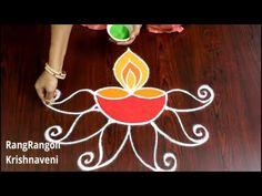 Rangoli Kolam Designs, Rangoli Designs With Dots, Diwali Drawing, Lotus Rangoli, Diwali Decorations At Home, Special Rangoli, Religious Symbols, Drawings, Simple