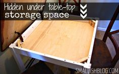 two tables in one | hidden storage space.  Absolutely ingenious!!! Love it!!!