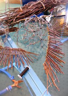 Constructing crow puppets for 'Into The Woods' Wells Little Theatre, UK - May 2014 : Artist Duncan Cameron