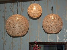 Ball + Glue + String = Hemp chandeliers.