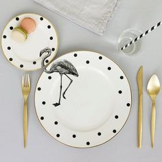 Cute and quirky Fancy Flamingo plate set with unique Flamingo illustration applied across the gorgeous matching dinner and side plates. Part of the