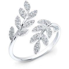 14KT White Gold Diamond Branch Ring