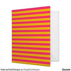 Pink and Gold Stripes Binder