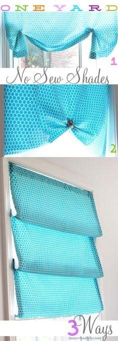 Wonderful!!! One yard no sew shades 3 ways DIY