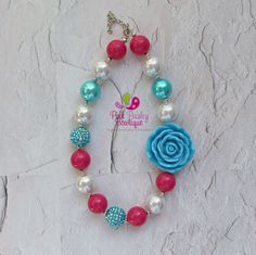 Baby Girl Chunky Necklace Pink Aqua Bubble by Pinkpaisleybowtique