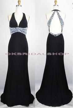 long prom dress, black prom dress, floor-length prom dress, sexy prom dress, cheap prom dress, open back prom dress, evening dress