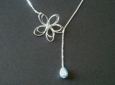 Flower with Light Blue Pearl Lariat Necklace
