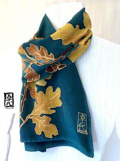 Silk Mens Scarf Hand Painted. Dark Green by SilkScarvesTakuyo, $169.00