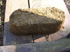 horse manure brick - I wonder how the neighbors would feel about this for our fuel source?