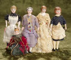 Victorian Dollhouse, Dollhouse Dolls, Miniature Dolls, Dollhouse Miniatures, Antique Dolls, Vintage Dolls, Doll House People, Tiny Dolls, Adult Crafts