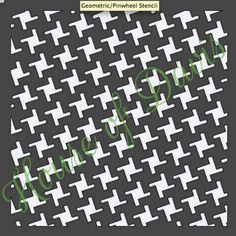 Geometric Pinwheel Stencil 12x12 by HouseofDavis on Etsy