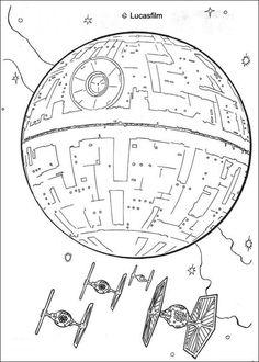 Dibujo para colorear : Estrella Negra y Tie Fighters