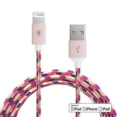 Apple MFi lightning cable for iPod, iPhone or iPad Reinforcedaluminum shielding on the USB and 8-pin connectors Rugged tangle-proof stylish fabric 5 feet in length Compatible with iPhone 7, iPhone 7+, iPhone 6S, iPhone 6S+, iPhone 6, iPhone 6+, iPhone 5, iPhone 5S, iPhone 5C, iPad Mini or iPad Air MFi Certified by Apple   Which cord is right for me?