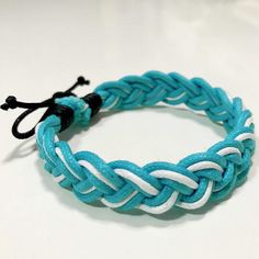 Bracelet/ made of cotton cord/ Light blue