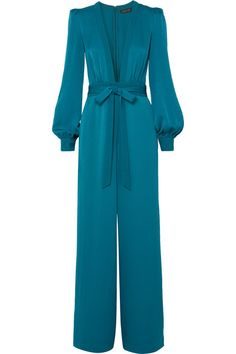 Teal satin-crepe Concealed hook and zip fastening at back acetate, polyester; lining: polyester Dry clean Designer color: Evening BlueLarge to size. See Size & Fit notes. Dressy Outfits, Cool Outfits, Fashion Outfits, Rachel Zoe, Jumpsuit Elegante, Interview Style, Elegant Outfit, Jumpsuits For Women, Shorts