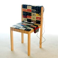 Chair made from cassette tapes.