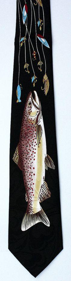 New Big Trout Mens Necktie Fly Fisherman Fishing Hook Sports Black Neck Tie #Harris #NeckTie