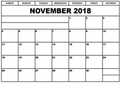 Free Printable Calendar November 2018 By Month Holidays