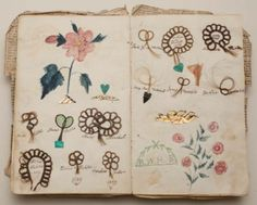 Friendship album, Margaret Williams, 1839, Album with locks of hair sewn onto the pages in loops of stylized flowers with colored drawings of flowers.