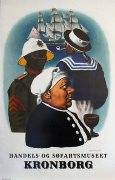 Kronborg Commercial Maritime Museum, 1948 - original vintage poster by Aage Sikker Hansen listed on AntikBar.co.uk #MaritimeDay