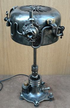 Nice metal steampunk desk lamp made with old metal parts! #steampunk #tablelamp #lamp #metal