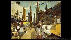 """Nigeria im Jahr 2081 Wie sieht das Afrika der Zukunft aus? Olalekan Jeyifous stellt es sich so vor - und malte den """"Idumota Market, Lagos 2081 A.D."""". Die Illustration stammt aus einer Serie für die Menswear Kollektion von Ikiré Jones."""