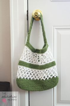 Go Green Mesh Crochet Tote/ intermediate / FREE CROCHET pattern/ great looking bag - striking in above colours!