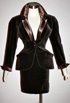 Vintage THIERRY MUGLER Brown Satin & Velvet