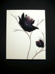 Black Walls, Floral Textile Wall Art