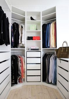 10 hexagon-shaped closet with drawers and open shelving, a window brings in much light - DigsDigs