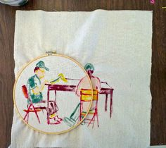 Thread and Needle. Embroidery lay out, by artist Mary Balda