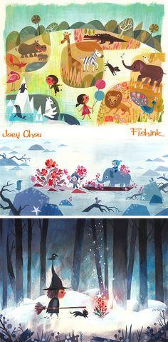 Joey Chou Mid century inspired Artist and Illustrator Joey Chou, Glenn Arthur, Disney Artists, Children's Book Illustration, Book Design, Illustrators, Book Art, Character Design, Drawings